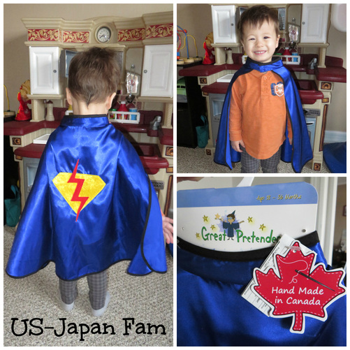 US-Japan Fam reviews Great Pretenders super hero toddler cape.