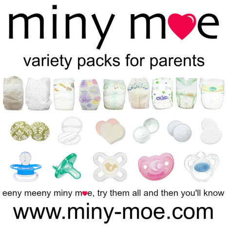 Miny Moe Variety Packs for Parents bring you samplers of disposable diapers, nursing pads, and pacifiers! Try all the top brands to find the best for YOUR baby!