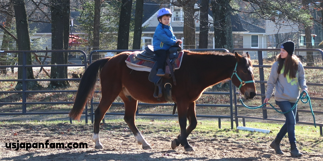 4-year-old's first horse ride, at Pocono Manor!