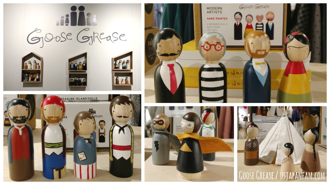 US Japan Fam loves Goose Grease's wooden peg dolls from the Playtime New York trade show!