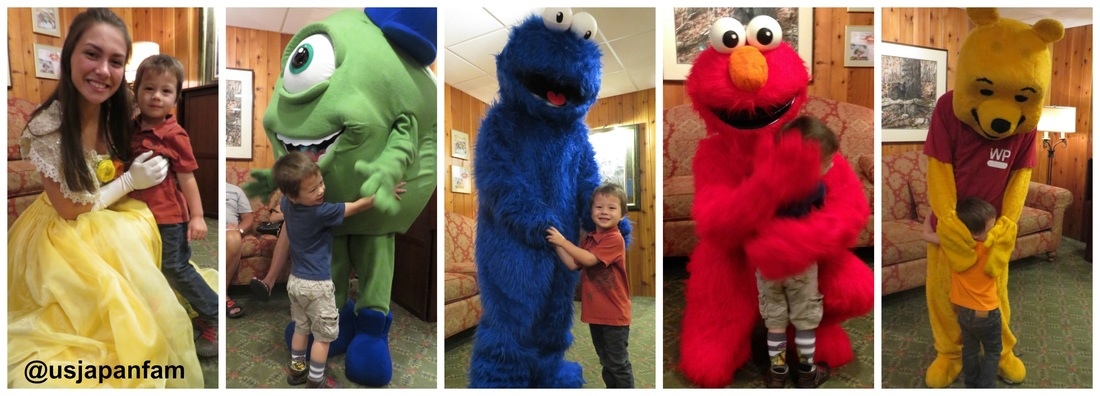 Kids are greeted by a different character at each meal at Woodloch Resort!