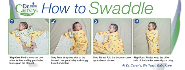 How To Swaddle, a photographic demonstration in Dr. Carey's Baby Care book, reviewed by US-Japan Fam