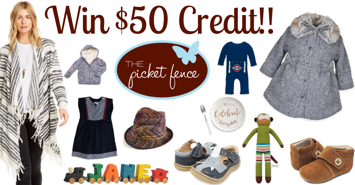 Win $50 to Picket Fence Boutique with clothing & accessories for babies, children, women, and home!
