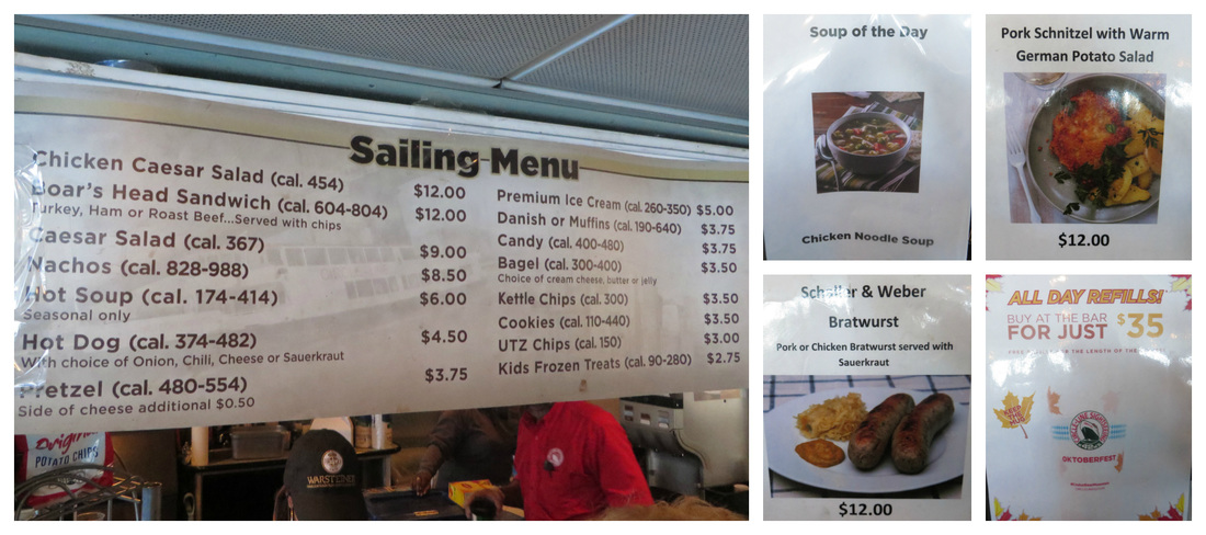 Available food options on the Circle Line Oktoberfest Bear Mountain Cruise