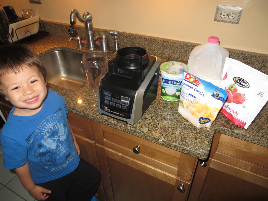 US Japan Fam making smoothies with Nutri Ninja Blender Duo