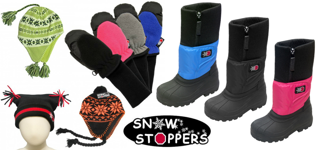 SnowStoppers children's hats, mittens, and snow boots will be your best friends this winter!!