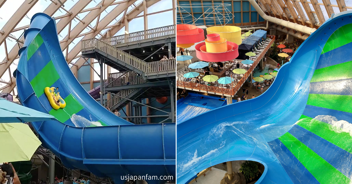 US Japan Fam reviews The Kartrite Resort & Indoor Waterpark for the perfect family vacation near NYC - Noreaster Waterslide