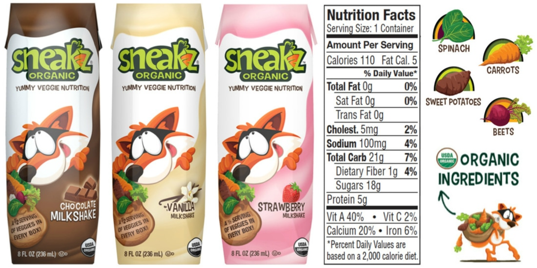 8oz of Sneakz Organic Milkshakes includes half a serving of vegetables!