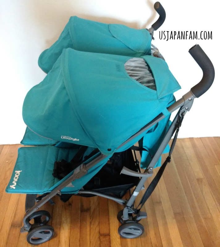 US Japan Fam reviews Joovy TwinGroove Ultralight Double Stroller - great canopies with peekaboo windows!
