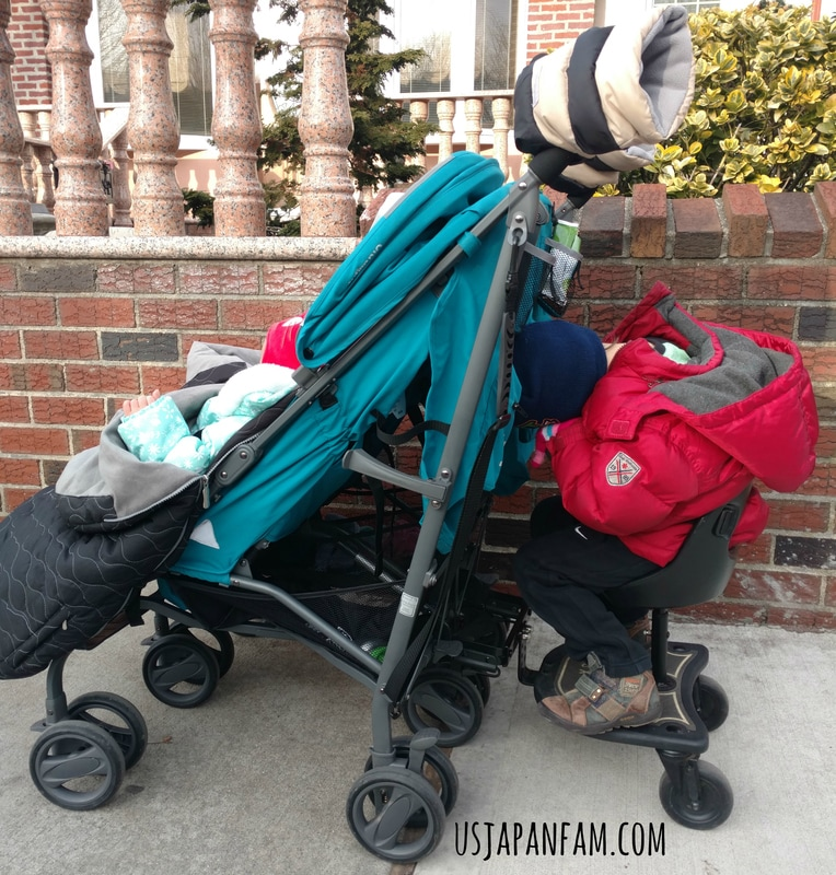 US Japan Fam reviews Joovy TwinGroove Ultralight Double Stroller - it can haul a toddler board!