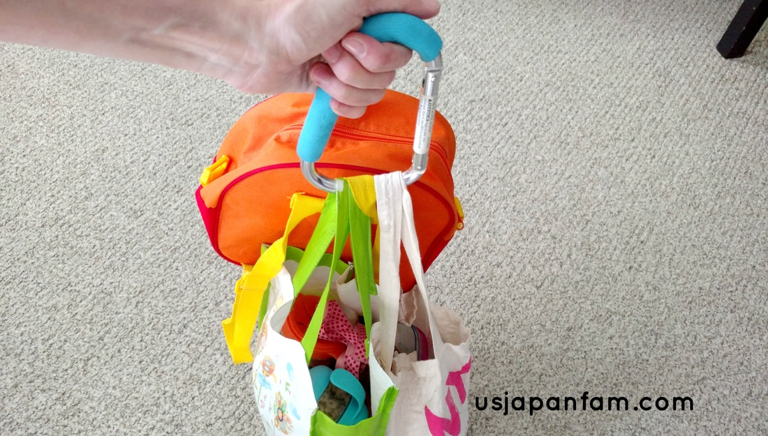 US Japan Fam's 13 Ways to Use The Mommy Hook: #9 - carry multiple bags
