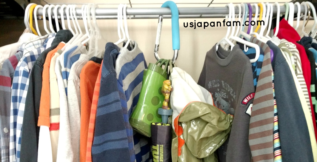US Japan Fam's 13 Ways to Use The Mommy Hook: #6 - organize rain gear